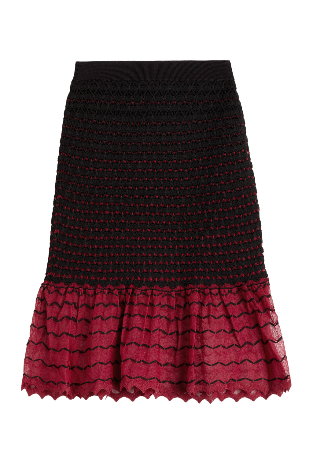 Textured Knit Skirt With Contrast Hem - style: pencil; fit: body skimming; pattern: herringbone/tweed; waist: mid/regular rise; secondary colour: hot pink; predominant colour: black; occasions: evening; length: on the knee; fibres: polyester/polyamide - mix; hip detail: subtle/flattering hip detail; texture group: knits/crochet; pattern type: knitted - other; pattern size: standard (bottom); multicoloured: multicoloured; season: s/s 2016; wardrobe: event