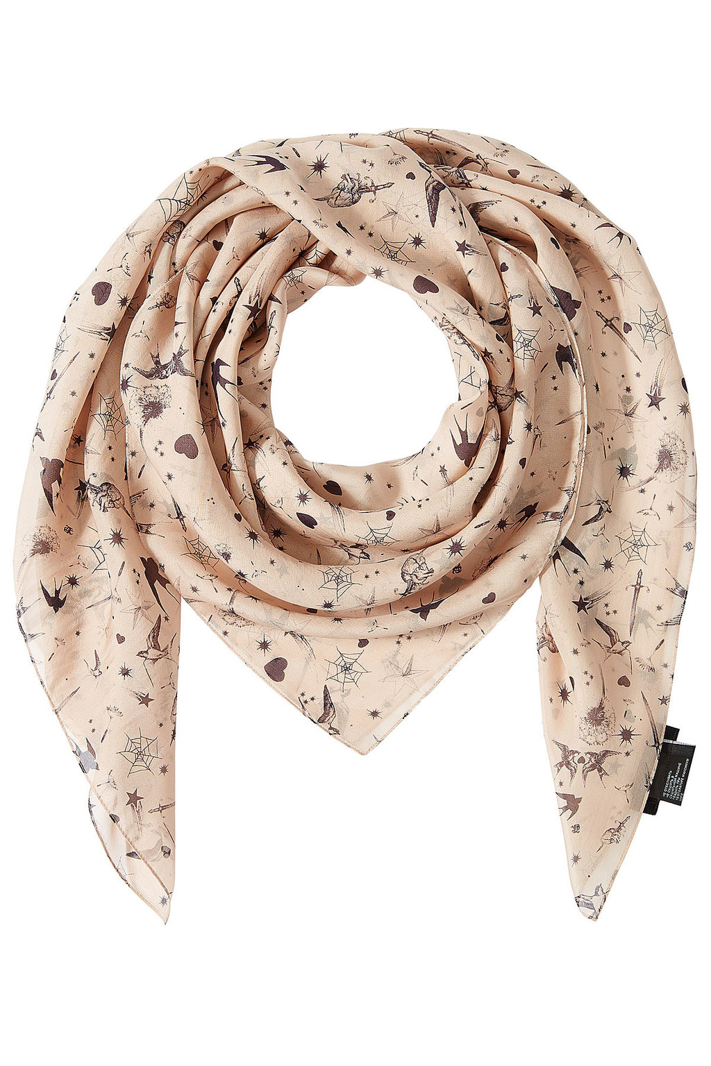 Printed Silk Scarf - predominant colour: blush; occasions: casual; type of pattern: heavy; style: square; size: large; material: silk; pattern: patterned/print; season: s/s 2016; wardrobe: highlight
