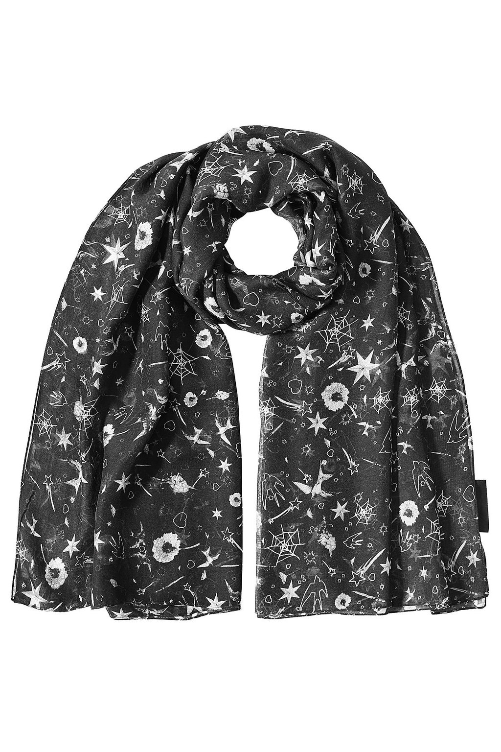 Printed Scarf With Silk Black - predominant colour: black; occasions: casual; type of pattern: heavy; style: regular; size: standard; material: fabric; pattern: florals; season: s/s 2016