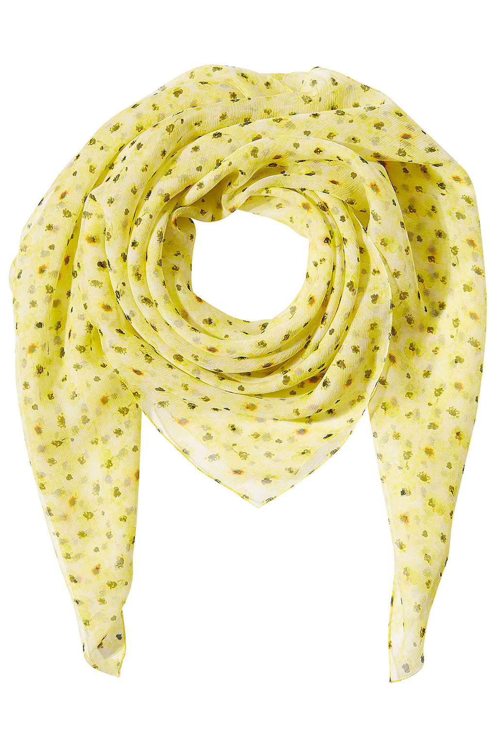 Printed Silk Scarf - predominant colour: yellow; occasions: casual; type of pattern: heavy; style: square; size: large; material: silk; pattern: patterned/print; season: s/s 2016; wardrobe: highlight