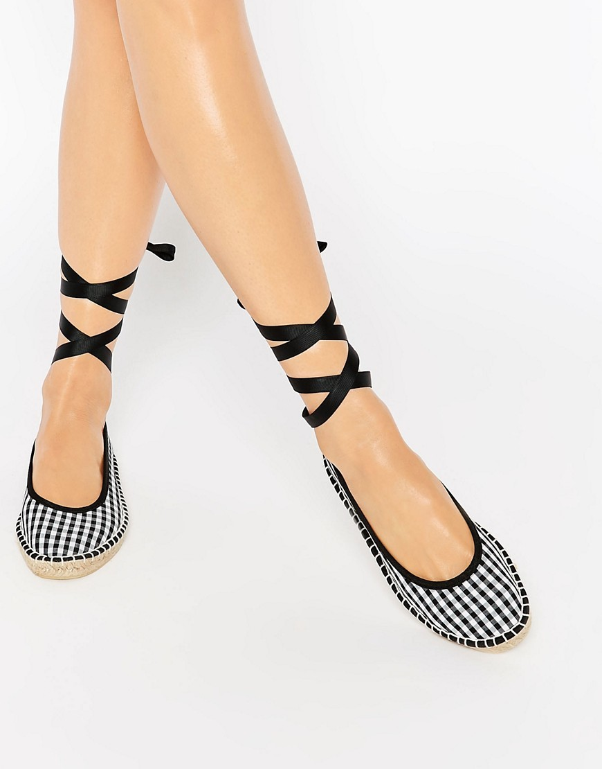 Jemima Ballet Tie Leg Espadrilles Mono Gingham - secondary colour: white; predominant colour: black; occasions: casual, creative work; material: fabric; heel height: flat; ankle detail: ankle tie; toe: round toe; style: ballerinas / pumps; trends: monochrome; finish: plain; pattern: checked/gingham; season: s/s 2016; wardrobe: highlight
