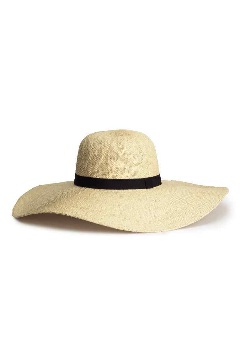 Straw Hat - predominant colour: stone; secondary colour: black; occasions: casual, holiday; type of pattern: standard; style: wide brimmed; size: large; material: macrame/raffia/straw; pattern: plain; season: s/s 2016; wardrobe: holiday
