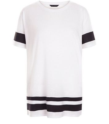 White Stripe Trim Baseball T Shirt - pattern: horizontal stripes; length: below the bottom; style: t-shirt; predominant colour: white; secondary colour: black; occasions: casual; fibres: polyester/polyamide - mix; fit: loose; neckline: crew; sleeve length: short sleeve; sleeve style: standard; pattern type: fabric; texture group: jersey - stretchy/drapey; multicoloured: multicoloured; season: s/s 2016