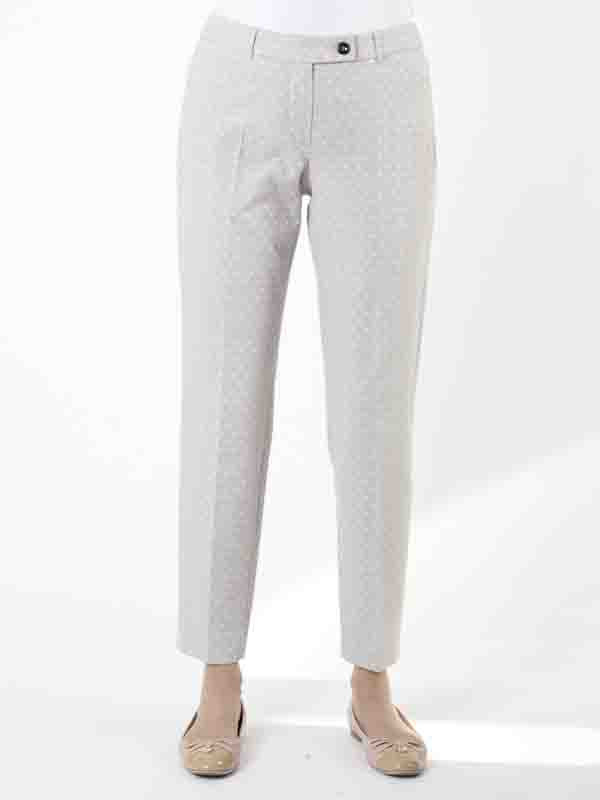 Taifun Pale Grey Jacquard Crop Trouser - length: standard; pattern: plain; waist: mid/regular rise; predominant colour: light grey; occasions: work, creative work; fibres: cotton - mix; fit: slim leg; pattern type: fabric; texture group: brocade/jacquard; style: standard; season: s/s 2016; wardrobe: basic