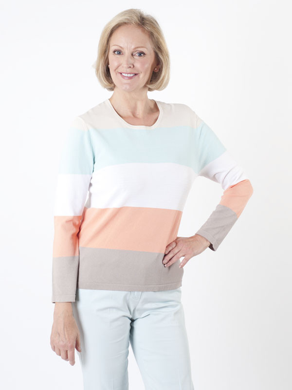 Gerry Weber Wide Stripe Jumper - neckline: round neck; pattern: horizontal stripes; style: standard; predominant colour: pale blue; secondary colour: coral; occasions: casual, creative work; length: standard; fit: standard fit; sleeve length: long sleeve; sleeve style: standard; texture group: knits/crochet; pattern type: knitted - fine stitch; fibres: viscose/rayon - mix; pattern size: big & busy (top); multicoloured: multicoloured; season: s/s 2016