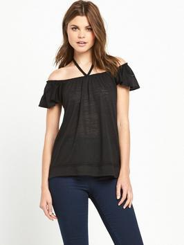 Frilled Trim Halter Neck Bardot Top - neckline: off the shoulder; pattern: plain; length: below the bottom; predominant colour: black; occasions: casual; style: top; fibres: cotton - 100%; fit: body skimming; sleeve length: short sleeve; sleeve style: standard; pattern type: fabric; texture group: other - light to midweight; season: s/s 2016; wardrobe: highlight