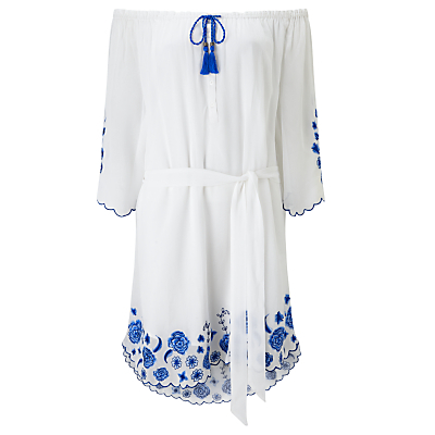 Floral Embroidered Smock Dress, White - neckline: off the shoulder; fit: loose; style: sundress; waist detail: belted waist/tie at waist/drawstring; predominant colour: white; secondary colour: royal blue; occasions: casual, holiday; length: just above the knee; fibres: viscose/rayon - 100%; sleeve length: 3/4 length; sleeve style: standard; pattern type: fabric; pattern: florals; texture group: other - light to midweight; embellishment: embroidered; multicoloured: multicoloured; season: s/s 2016; wardrobe: highlight