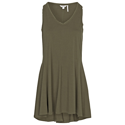 Long Line Trapeze Top - neckline: low v-neck; sleeve style: standard vest straps/shoulder straps; pattern: plain; length: below the bottom; style: vest top; predominant colour: khaki; occasions: casual; fibres: cotton - 100%; fit: loose; sleeve length: sleeveless; pattern type: fabric; texture group: jersey - stretchy/drapey; season: s/s 2016; wardrobe: basic