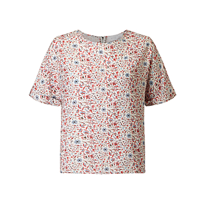 Andie Boho Floral Print Shell Top, Multi - predominant colour: white; secondary colour: true red; occasions: casual; length: standard; style: top; fibres: viscose/rayon - 100%; fit: body skimming; neckline: crew; sleeve length: short sleeve; sleeve style: standard; pattern type: fabric; pattern: florals; texture group: jersey - stretchy/drapey; multicoloured: multicoloured; season: s/s 2016; wardrobe: highlight