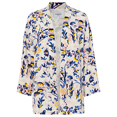 Silk Nancy Printed Jacket, Multi - sleeve style: dolman/batwing; collar: round collar/collarless; fit: loose; length: below the bottom; predominant colour: blush; secondary colour: royal blue; occasions: casual, creative work; fibres: silk - 100%; sleeve length: 3/4 length; texture group: crepes; collar break: low/open; pattern type: fabric; pattern: patterned/print; style: fluid/kimono; pattern size: big & busy (top); multicoloured: multicoloured; season: s/s 2016; wardrobe: highlight