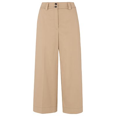 Cotton Wide Leg Trousers, Beige - pattern: plain; style: palazzo; waist: high rise; predominant colour: camel; occasions: casual, creative work; length: ankle length; fibres: cotton - stretch; texture group: cotton feel fabrics; fit: wide leg; pattern type: fabric; season: s/s 2016; wardrobe: basic