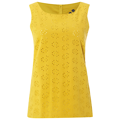 Hollow Emb Vest, Nectar Yellow - neckline: round neck; pattern: plain; sleeve style: sleeveless; style: vest top; predominant colour: yellow; occasions: casual; length: standard; fibres: cotton - 100%; fit: body skimming; sleeve length: sleeveless; pattern type: fabric; texture group: broiderie anglais; season: s/s 2016; wardrobe: highlight