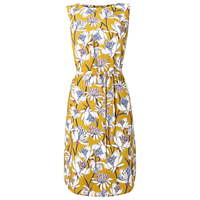 Madrid Dress, Nectar Yellow - style: shift; neckline: round neck; sleeve style: sleeveless; waist detail: belted waist/tie at waist/drawstring; secondary colour: ivory/cream; predominant colour: mustard; occasions: casual, creative work; length: on the knee; fit: body skimming; fibres: viscose/rayon - 100%; sleeve length: sleeveless; pattern type: fabric; pattern: patterned/print; texture group: other - light to midweight; multicoloured: multicoloured; season: s/s 2016; wardrobe: highlight