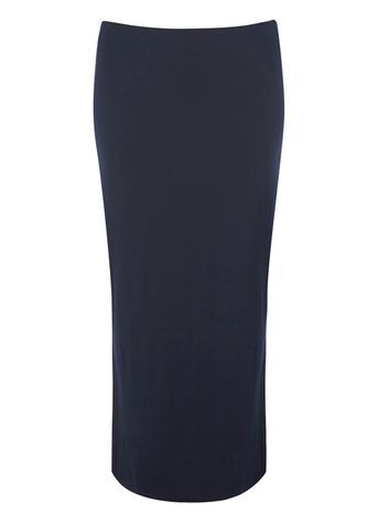 Navy Maxi Skirt - pattern: plain; length: ankle length; fit: body skimming; waist: mid/regular rise; predominant colour: navy; occasions: casual, holiday; style: maxi skirt; fibres: viscose/rayon - stretch; texture group: jersey - clingy; pattern type: fabric; season: s/s 2016; wardrobe: basic