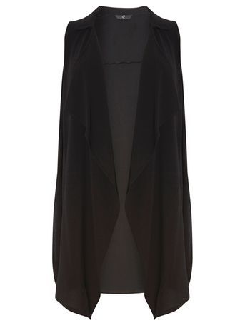 Black Sleeveless Jacket - pattern: plain; sleeve style: sleeveless; collar: shawl/waterfall; fit: loose; predominant colour: black; occasions: casual, creative work; fibres: polyester/polyamide - stretch; style: waistcoat; length: mid thigh; sleeve length: sleeveless; collar break: low/open; pattern type: fabric; texture group: other - light to midweight; season: s/s 2016; wardrobe: highlight