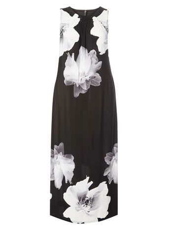 Black And Ivory Floral Print Maxi Dress - neckline: round neck; sleeve style: sleeveless; style: maxi dress; length: ankle length; secondary colour: white; predominant colour: black; occasions: casual, evening, holiday; fit: body skimming; fibres: polyester/polyamide - stretch; sleeve length: sleeveless; pattern type: fabric; pattern size: big & busy; pattern: florals; texture group: other - light to midweight; season: s/s 2016; wardrobe: highlight