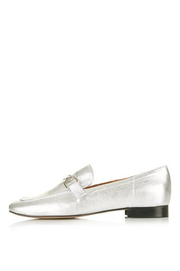 Karter Loafer - predominant colour: silver; occasions: casual, creative work; material: leather; heel height: flat; embellishment: snaffles; toe: round toe; style: loafers; finish: metallic; pattern: plain; trends: pretty girl; season: s/s 2016