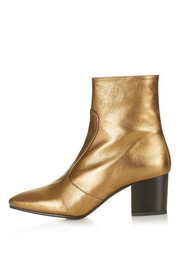 Mustard Western Boots - predominant colour: gold; occasions: casual, creative work; material: suede; heel height: mid; heel: block; toe: pointed toe; boot length: ankle boot; style: standard; finish: plain; pattern: plain; season: s/s 2016; wardrobe: highlight; trends: metallics