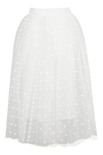 Layered Spot Mesh Midi Skirt By Rare - length: below the knee; style: full/prom skirt; fit: loose/voluminous; waist: high rise; pattern: polka dot; predominant colour: white; occasions: evening, occasion; fibres: polyester/polyamide - stretch; hip detail: subtle/flattering hip detail; waist detail: feature waist detail; texture group: sheer fabrics/chiffon/organza etc.; pattern type: fabric; pattern size: light/subtle (bottom); season: s/s 2016; wardrobe: event