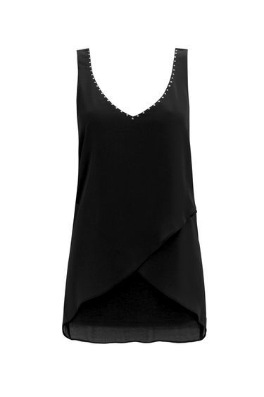 Black Asymmetric Hem Vest Top - neckline: v-neck; pattern: plain; sleeve style: sleeveless; length: below the bottom; style: vest top; secondary colour: gold; predominant colour: black; occasions: casual, holiday, creative work; fibres: polyester/polyamide - 100%; fit: body skimming; sleeve length: sleeveless; pattern type: fabric; texture group: other - light to midweight; season: s/s 2016