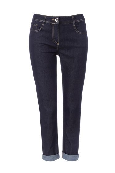 Indigo Roll Up Jean - style: straight leg; pattern: plain; waist: mid/regular rise; predominant colour: navy; occasions: casual, creative work; length: ankle length; fibres: cotton - stretch; jeans detail: dark wash; texture group: denim; pattern type: fabric; season: s/s 2016; wardrobe: basic