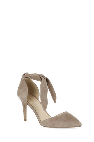 Suede Ankle Tie Court Shoe - predominant colour: taupe; occasions: evening, occasion, creative work; material: suede; heel height: high; ankle detail: ankle tie; heel: stiletto; toe: pointed toe; style: courts; finish: plain; pattern: plain; season: s/s 2016; wardrobe: investment