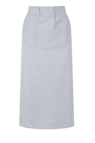 Stripe Cotton Pencil Skirt - length: below the knee; pattern: striped; style: straight; waist: high rise; secondary colour: white; predominant colour: pale blue; occasions: casual, creative work; fibres: cotton - 100%; texture group: cotton feel fabrics; fit: straight cut; pattern type: fabric; season: s/s 2016