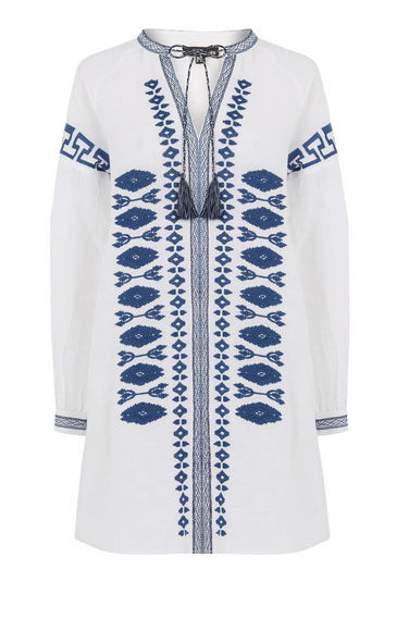 Linen Embroidered Tunic - neckline: low v-neck; pattern: plain; style: tunic; predominant colour: white; secondary colour: navy; occasions: casual, holiday; fibres: linen - mix; fit: loose; length: mid thigh; sleeve length: long sleeve; sleeve style: standard; texture group: linen; pattern type: fabric; embellishment: embroidered; season: s/s 2016; wardrobe: highlight
