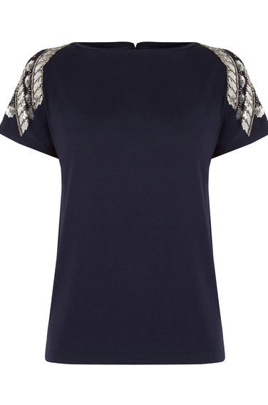 Embellished Tee - style: t-shirt; predominant colour: black; occasions: evening; length: standard; fibres: viscose/rayon - stretch; fit: body skimming; neckline: crew; sleeve length: short sleeve; sleeve style: standard; pattern type: fabric; pattern: patterned/print; texture group: jersey - stretchy/drapey; embellishment: beading; season: s/s 2016; wardrobe: event; embellishment location: bust