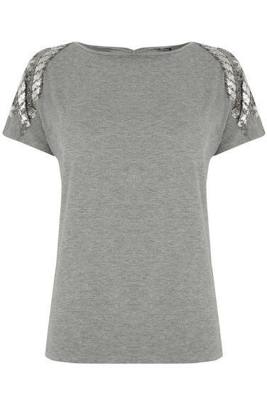 Embellished Tee - neckline: round neck; pattern: plain; style: t-shirt; secondary colour: silver; predominant colour: mid grey; occasions: casual, evening; length: standard; fibres: cotton - stretch; fit: body skimming; shoulder detail: added shoulder detail; sleeve length: short sleeve; sleeve style: standard; pattern type: fabric; texture group: jersey - stretchy/drapey; embellishment: sequins; season: s/s 2016; wardrobe: highlight