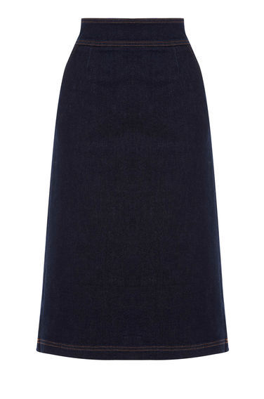A Line Midi Skirt - length: below the knee; pattern: plain; fit: loose/voluminous; waist: high rise; predominant colour: navy; occasions: casual, creative work; style: a-line; fibres: cotton - 100%; waist detail: narrow waistband; texture group: denim; pattern type: fabric; season: s/s 2016