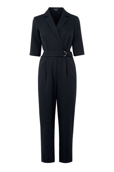 Tailored Lapel Jumpsuit - neckline: shirt collar/peter pan/zip with opening; fit: tailored/fitted; pattern: plain; waist detail: belted waist/tie at waist/drawstring; predominant colour: black; occasions: evening, creative work; length: ankle length; fibres: polyester/polyamide - 100%; hip detail: front pleats at hip level; sleeve length: 3/4 length; sleeve style: standard; texture group: crepes; style: jumpsuit; pattern type: fabric; season: s/s 2016