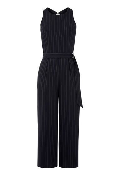 Pinstripe Belted Jumpsuit - fit: tailored/fitted; sleeve style: sleeveless; pattern: pinstripe; waist detail: belted waist/tie at waist/drawstring; predominant colour: black; length: calf length; fibres: polyester/polyamide - 100%; neckline: crew; back detail: keyhole/peephole detail at back; sleeve length: sleeveless; style: jumpsuit; pattern type: fabric; pattern size: light/subtle; texture group: woven light midweight; occasions: creative work; season: s/s 2016; wardrobe: highlight