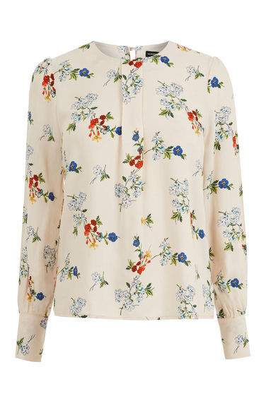 Spaced Floral Puff Sleeve Top - predominant colour: blush; secondary colour: royal blue; occasions: casual; length: standard; style: top; fibres: viscose/rayon - 100%; fit: body skimming; neckline: crew; hip detail: subtle/flattering hip detail; sleeve length: long sleeve; sleeve style: standard; pattern type: fabric; pattern size: light/subtle; pattern: florals; texture group: woven light midweight; multicoloured: multicoloured; season: s/s 2016; wardrobe: highlight