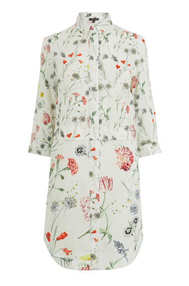 Scatter Floral Shirt Dress - style: shirt; length: mid thigh; neckline: shirt collar/peter pan/zip with opening; predominant colour: white; secondary colour: true red; occasions: casual, creative work; fit: straight cut; fibres: cotton - 100%; sleeve length: 3/4 length; sleeve style: standard; texture group: cotton feel fabrics; pattern type: fabric; pattern: patterned/print; multicoloured: multicoloured; season: s/s 2016; wardrobe: highlight