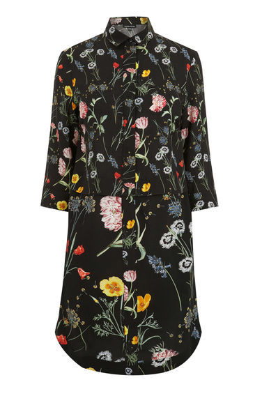 Scatter Floral Shirt Dress - style: shirt; neckline: shirt collar/peter pan/zip with opening; secondary colour: mid grey; predominant colour: black; occasions: casual; length: on the knee; fit: body skimming; fibres: viscose/rayon - 100%; back detail: longer hem at back than at front; sleeve length: 3/4 length; sleeve style: standard; texture group: crepes; pattern type: fabric; pattern size: standard; pattern: patterned/print; season: s/s 2016; wardrobe: highlight