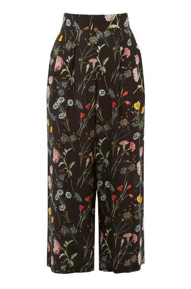 Scatter Floral Culotte - style: palazzo; waist: high rise; secondary colour: true red; predominant colour: black; occasions: casual, creative work; length: ankle length; fibres: viscose/rayon - 100%; fit: wide leg; pattern type: fabric; pattern: florals; texture group: other - light to midweight; pattern size: standard (bottom); multicoloured: multicoloured; season: s/s 2016; wardrobe: highlight