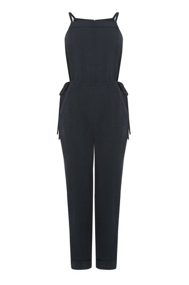 Utility Tie Side Jumpsuit - length: standard; neckline: high square neck; pattern: plain; sleeve style: sleeveless; predominant colour: black; occasions: evening; fit: body skimming; fibres: viscose/rayon - 100%; sleeve length: sleeveless; texture group: crepes; style: jumpsuit; pattern type: fabric; season: s/s 2016; wardrobe: event