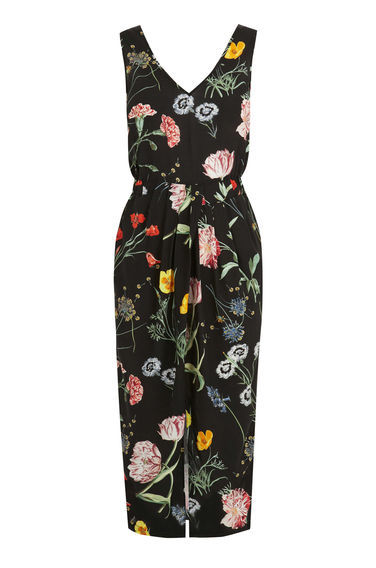 Scatter Floral Sleeveless Midi - style: shift; neckline: v-neck; sleeve style: sleeveless; hip detail: draws attention to hips; waist detail: belted waist/tie at waist/drawstring; secondary colour: blush; predominant colour: black; occasions: evening; length: on the knee; fit: body skimming; fibres: viscose/rayon - 100%; sleeve length: sleeveless; pattern type: fabric; pattern size: big & busy; pattern: florals; texture group: other - light to midweight; multicoloured: multicoloured; season: s/s 2016; wardrobe: event