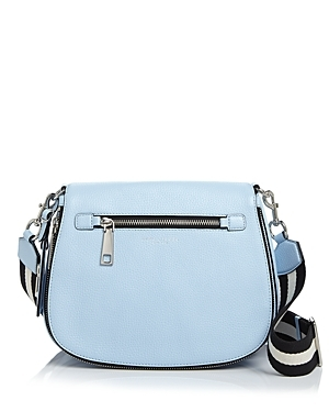 Gotham City Saddle Bag - predominant colour: pale blue; secondary colour: black; occasions: casual, creative work; type of pattern: standard; style: saddle; length: across body/long; size: standard; material: leather; pattern: plain; finish: plain; season: s/s 2016; wardrobe: highlight