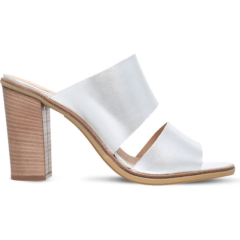 Krow Metallic Leather Heeled Sandals, Women's, Eur 39 / 6 Uk Women, Silver - predominant colour: silver; occasions: casual, holiday, creative work; material: leather; heel height: high; heel: block; toe: open toe/peeptoe; style: mules; finish: metallic; pattern: plain; season: s/s 2016; wardrobe: highlight