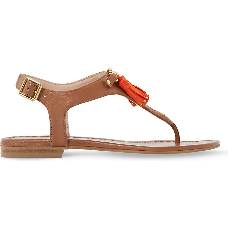 Laviniya Tasselled Leather Sandals, Women's, Eur 36 / 3 Uk Women, Grey - secondary colour: bright orange; predominant colour: tan; occasions: casual, holiday; material: leather; heel height: flat; embellishment: tassels; ankle detail: ankle strap; heel: block; toe: toe thongs; style: strappy; finish: plain; pattern: plain; season: s/s 2016