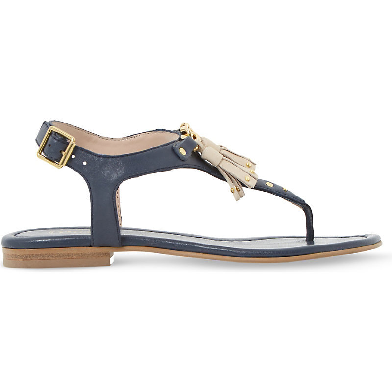 Laviniya Tasselled Leather Sandals, Women's, Eur 38 / 5 Uk Women, Navy Leather - predominant colour: navy; occasions: casual, holiday; material: leather; heel height: flat; embellishment: tassels; ankle detail: ankle strap; heel: block; toe: open toe/peeptoe; style: strappy; finish: plain; pattern: plain; season: s/s 2016; wardrobe: highlight