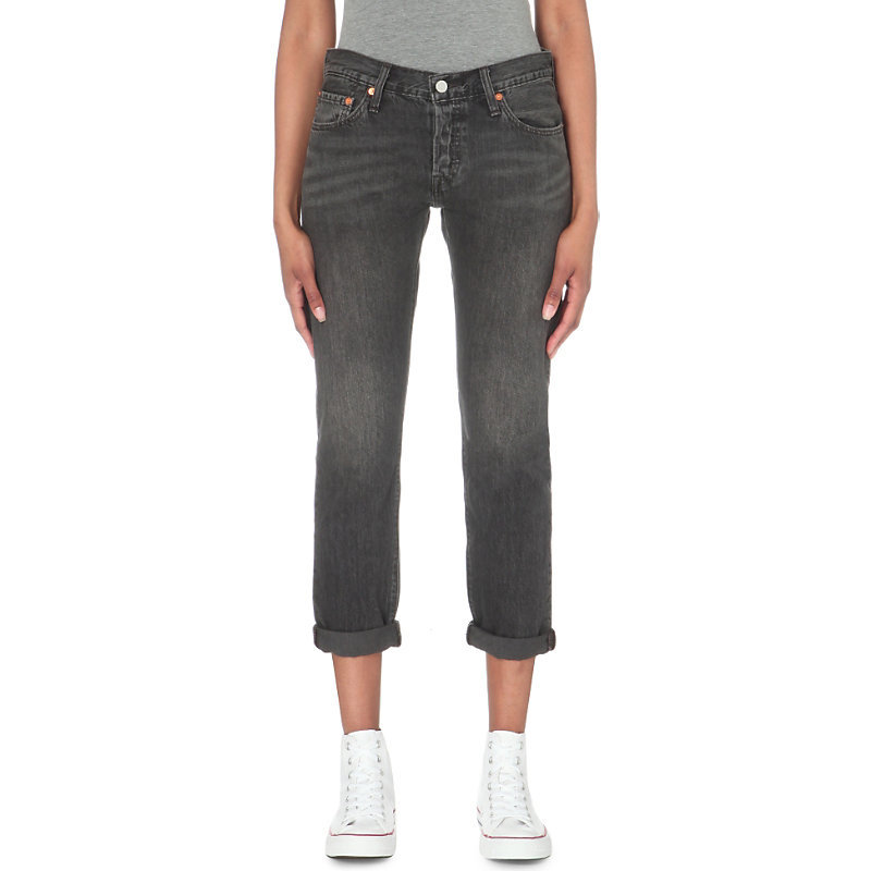 501 Slim Fit Mid Rise Turn Up Jeans, Women's, Fading Coal - style: skinny leg; pattern: plain; pocket detail: traditional 5 pocket; waist: mid/regular rise; predominant colour: charcoal; occasions: casual; length: calf length; fibres: cotton - stretch; jeans detail: shading down centre of thigh; texture group: denim; pattern type: fabric; season: s/s 2016; wardrobe: highlight