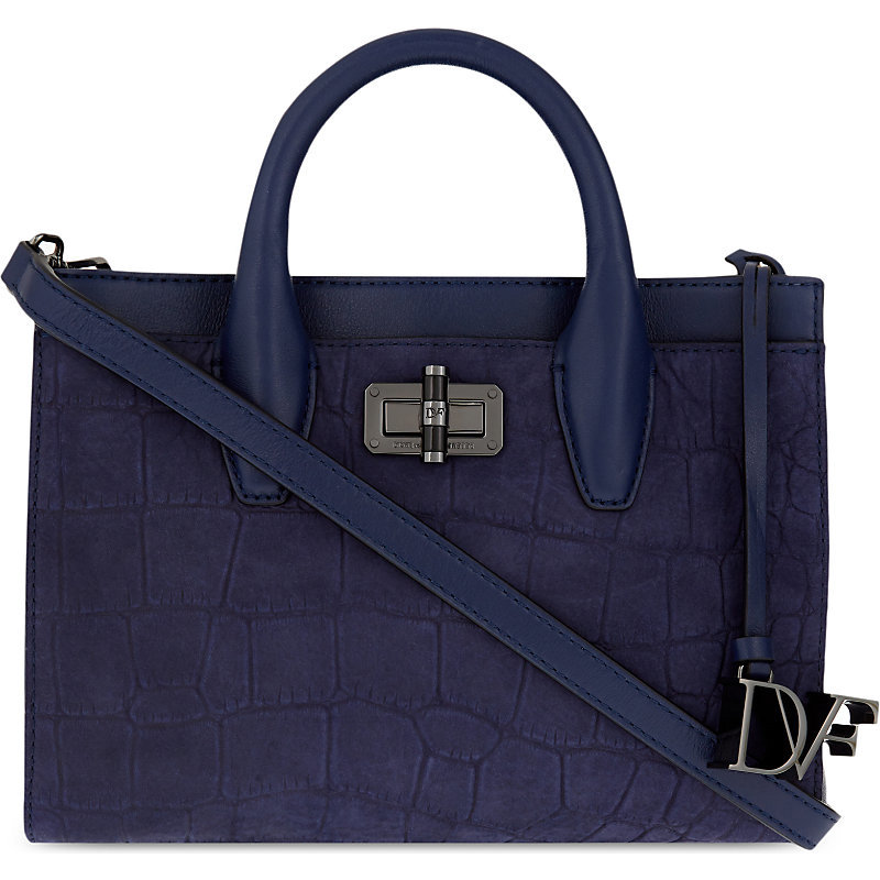 440 Gallery Mini Viviana Crocodile Embossed Leather Tote, Women's, Navy - predominant colour: navy; occasions: casual, creative work; type of pattern: standard; style: tote; length: handle; size: standard; material: leather; pattern: plain; finish: plain; season: s/s 2016; wardrobe: investment