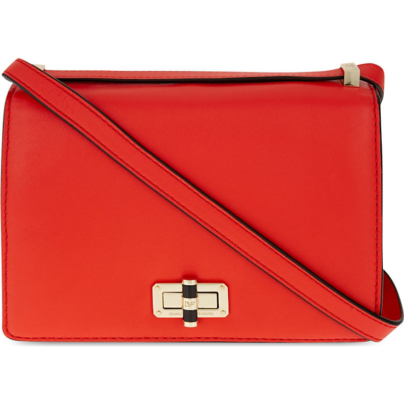 440 Gallery Les Leather Cross Body Bag, Women's, Hot Orange - predominant colour: bright orange; occasions: casual, creative work; type of pattern: standard; style: shoulder; length: across body/long; size: small; material: leather; pattern: plain; finish: plain; embellishment: chain/metal; season: s/s 2016