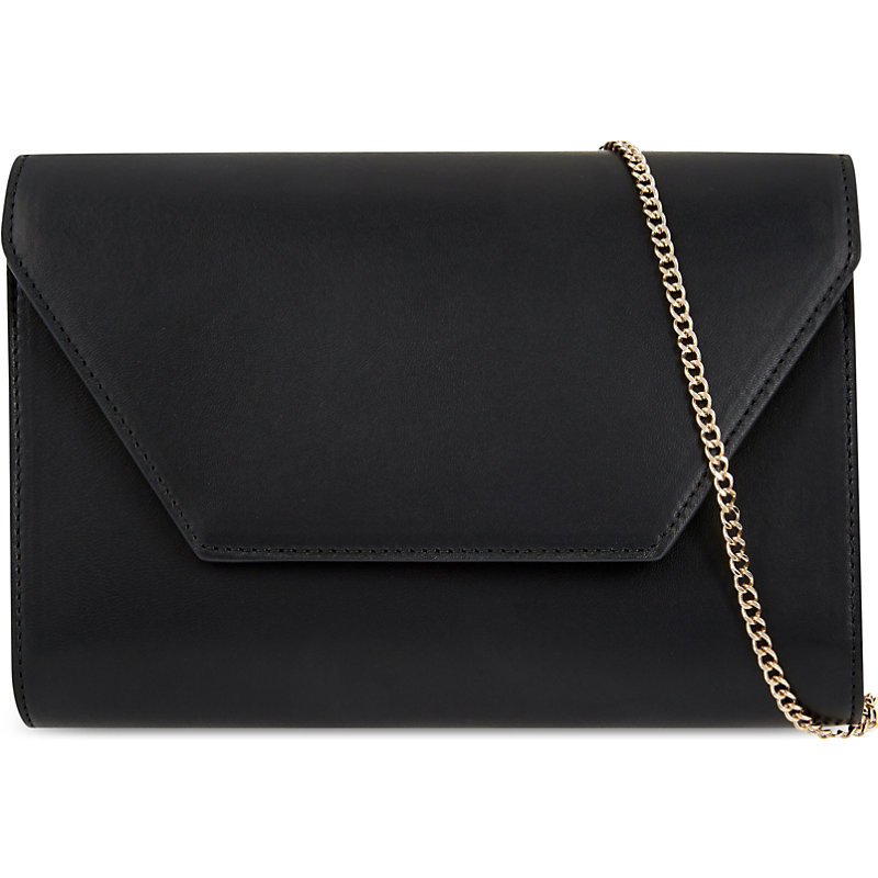 Lamb Leather Envelope Clutch, Women's, Black - predominant colour: black; occasions: evening, occasion; type of pattern: standard; style: clutch; length: hand carry; size: standard; material: leather; pattern: plain; finish: plain; season: s/s 2016; wardrobe: event