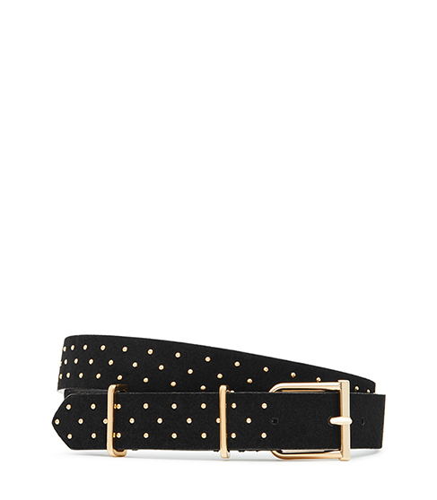 Theon Stud Studded Suede Belt - secondary colour: gold; predominant colour: black; occasions: casual, creative work; type of pattern: standard; embellishment: studs; style: classic; size: standard; worn on: hips; material: suede; pattern: plain; finish: plain; season: s/s 2016
