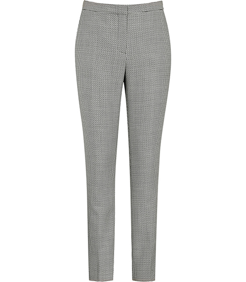Maxine Trouser Patterned Tailored Trousers - pattern: plain; waist: mid/regular rise; predominant colour: mid grey; occasions: work; length: ankle length; fibres: wool - mix; fit: slim leg; pattern type: fabric; texture group: other - light to midweight; style: standard; season: s/s 2016; wardrobe: basic
