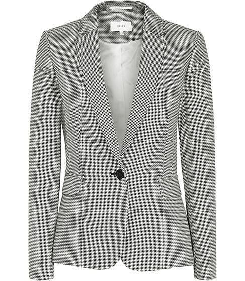 Maxine Jacket Patterned Single Breasted Blazer - style: single breasted blazer; collar: standard lapel/rever collar; predominant colour: mid grey; occasions: work, creative work; length: standard; fit: tailored/fitted; fibres: wool - mix; sleeve length: long sleeve; sleeve style: standard; collar break: low/open; pattern type: fabric; pattern size: light/subtle; pattern: patterned/print; texture group: woven light midweight; season: s/s 2016; wardrobe: investment